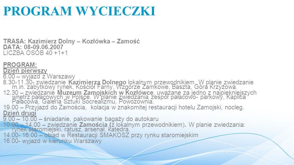 PROGRAM WYCIECZKI TRASA: Kazimierz Dolny – Kozłówka – Zamość