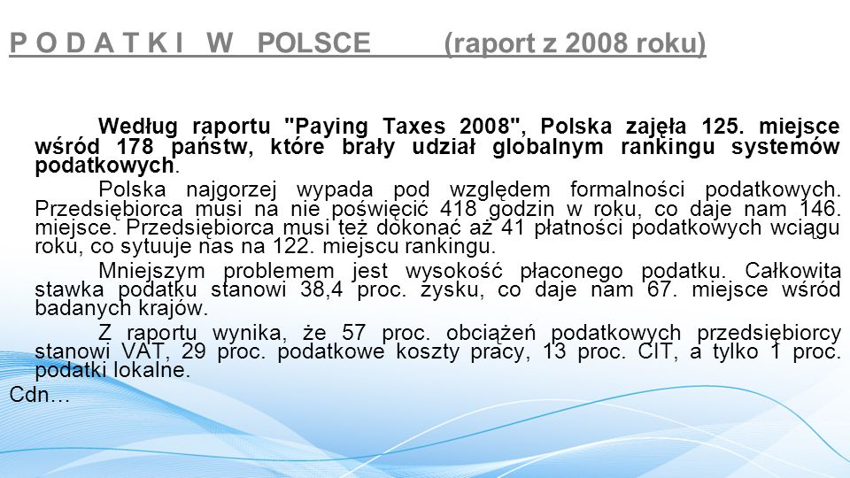 P O D A T K I W POLSCE (raport z 2008 roku)