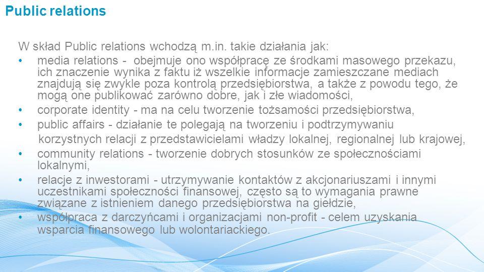 Public relations W skład Public relations wchodzą m.in. takie działania jak: