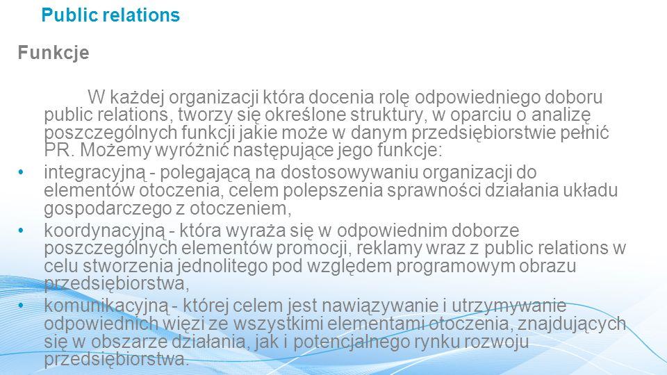 Public relations Funkcje.