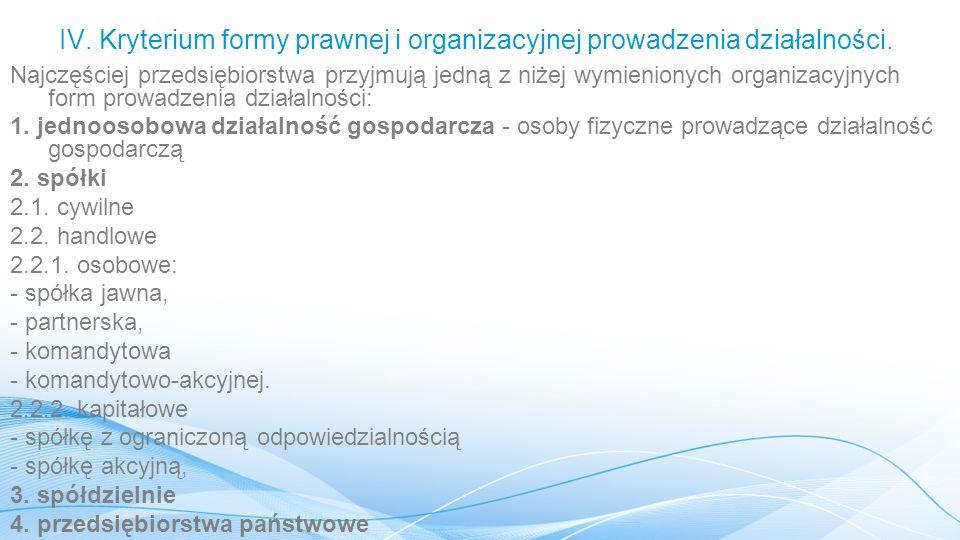 IV. Kryterium formy prawnej i organizacyjnej prowadzenia działalności.