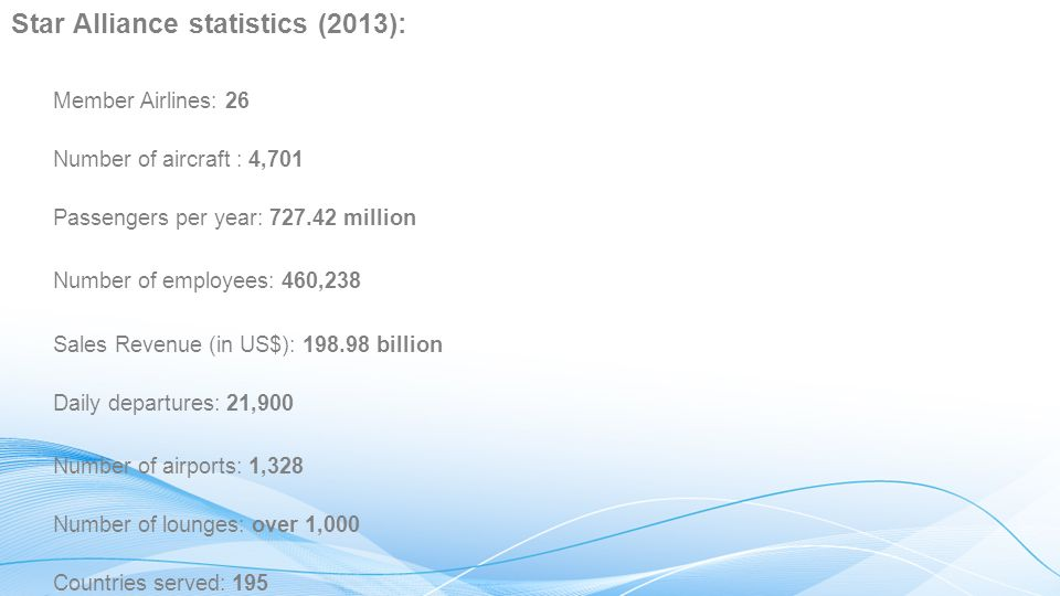 Star Alliance statistics (2013):