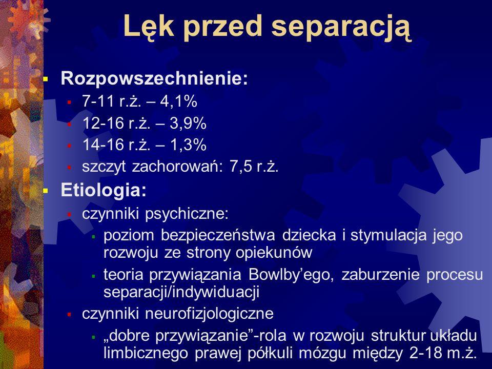 Lęk przed separacją Rozpowszechnienie: Etiologia: 7-11 r.ż. – 4,1%