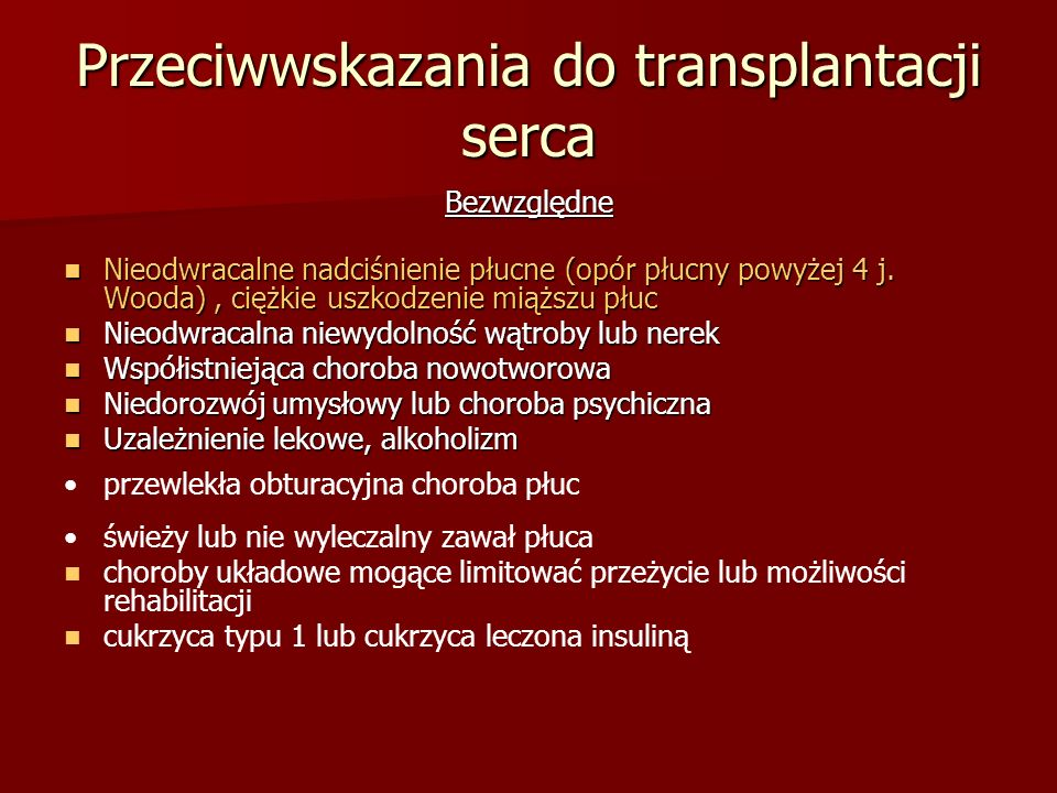 Przeciwwskazania do transplantacji serca