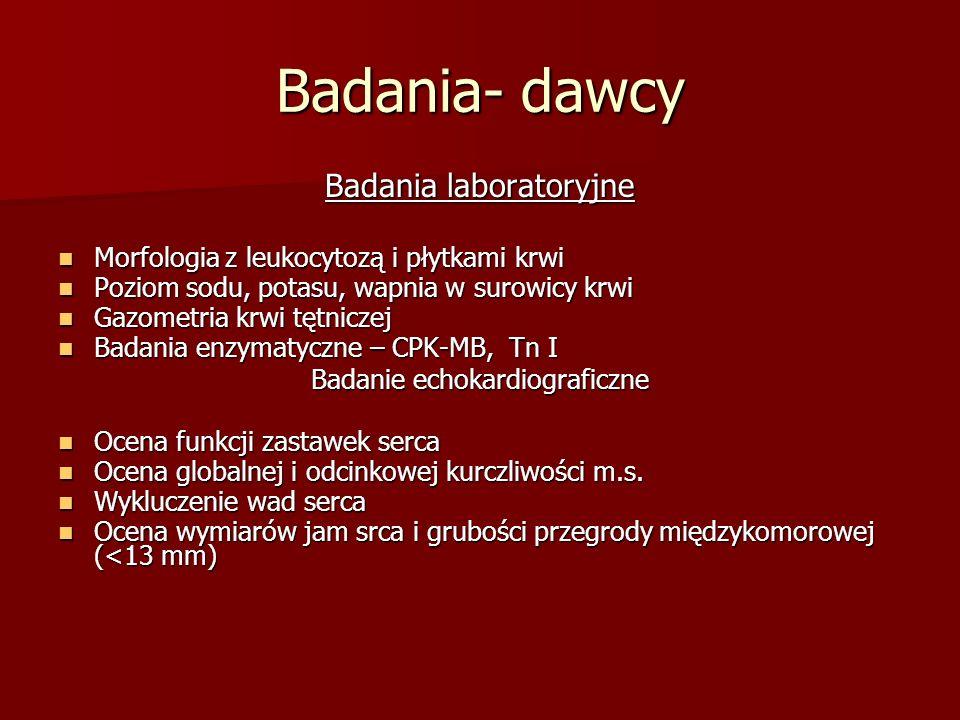 Badania- dawcy Badania laboratoryjne