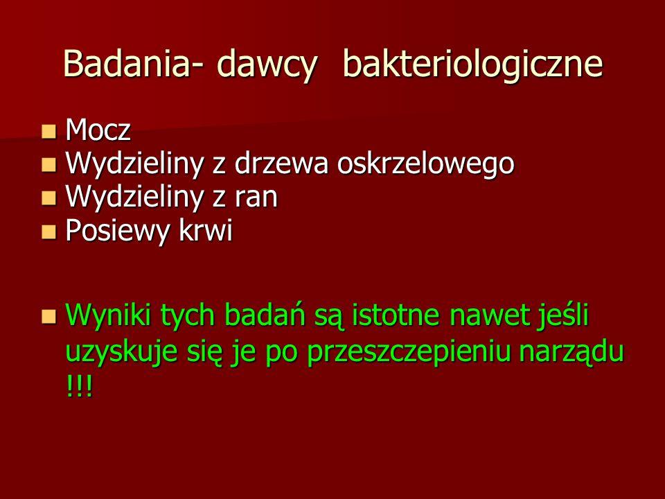 Badania- dawcy bakteriologiczne