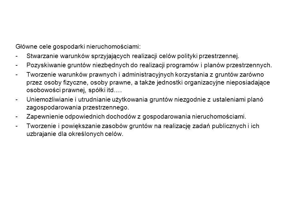 Główne cele gospodarki nieruchomościami: