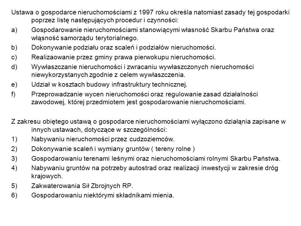 Ustawa o gospodarce nieruchomościami z 1997 roku określa natomiast zasady tej gospodarki poprzez listę następujących procedur i czynności: