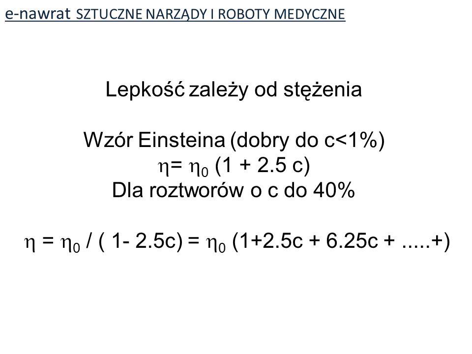 Lepkość zależy od stężenia Wzór Einsteina (dobry do c<1%)