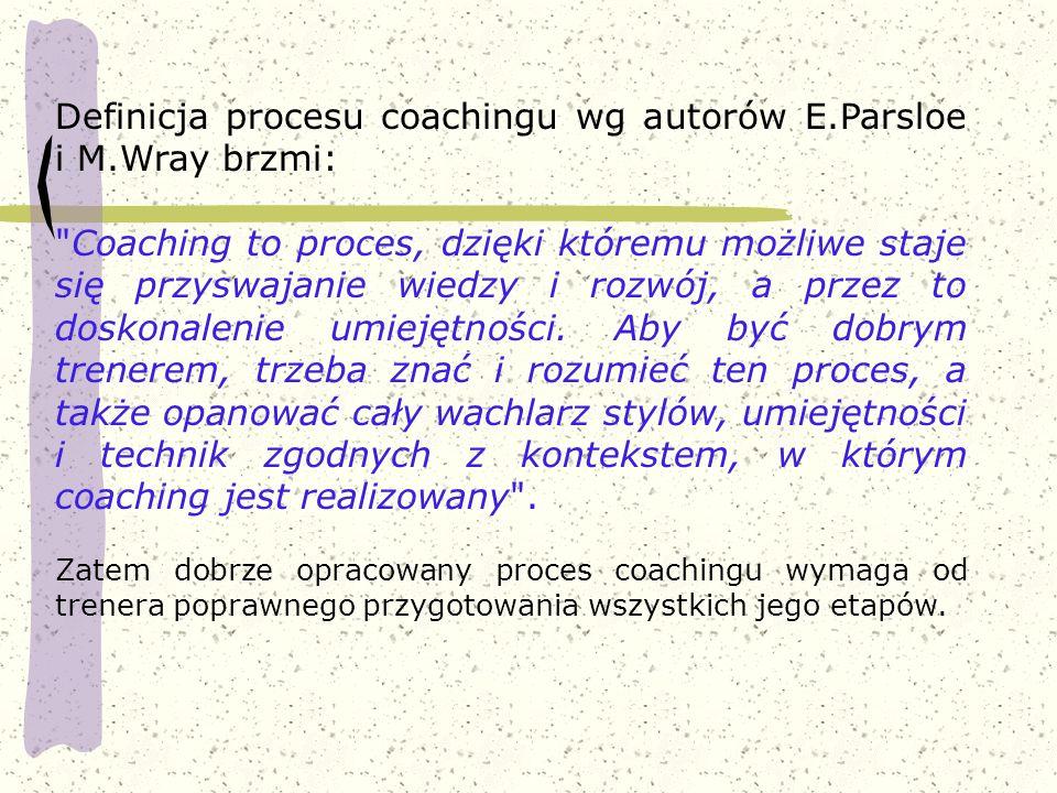 Definicja procesu coachingu wg autorów E.Parsloe i M.Wray brzmi: