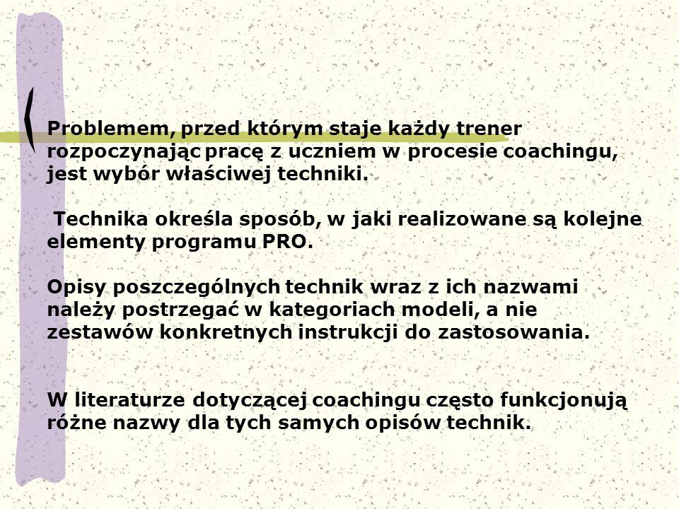 Problemem, przed którym staje każdy trener rozpoczynając pracę z uczniem w procesie coachingu, jest wybór właściwej techniki.