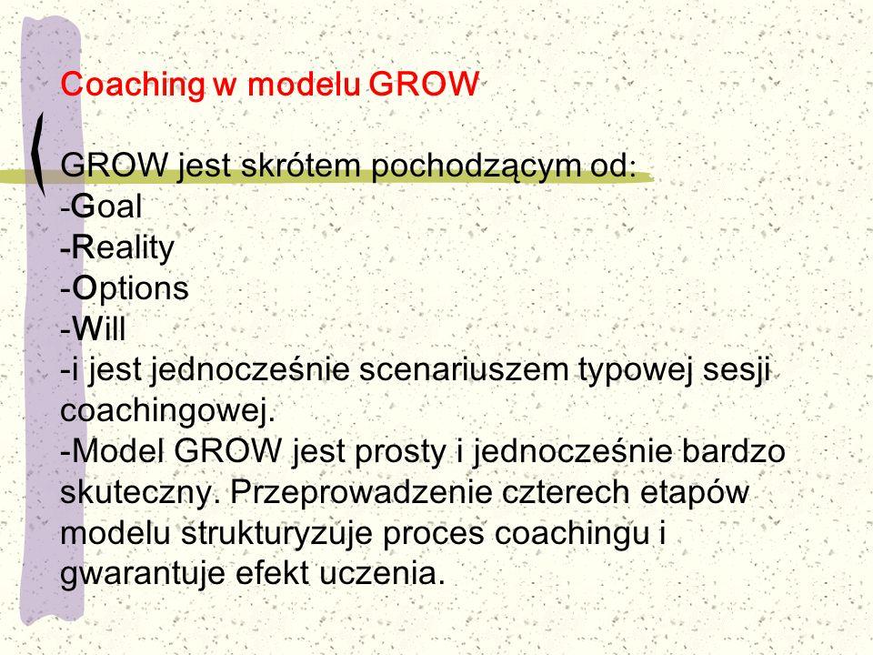 Coaching w modelu GROW GROW jest skrótem pochodzącym od: