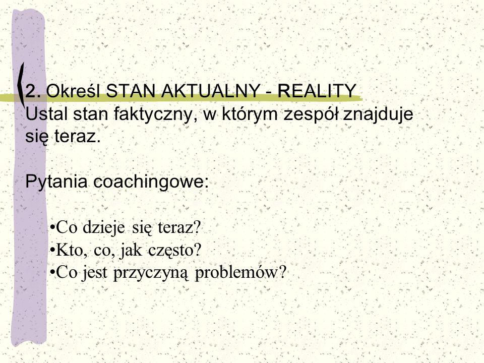 2. Określ STAN AKTUALNY - REALITY Ustal stan faktyczny, w którym zespół znajduje się teraz. Pytania coachingowe: