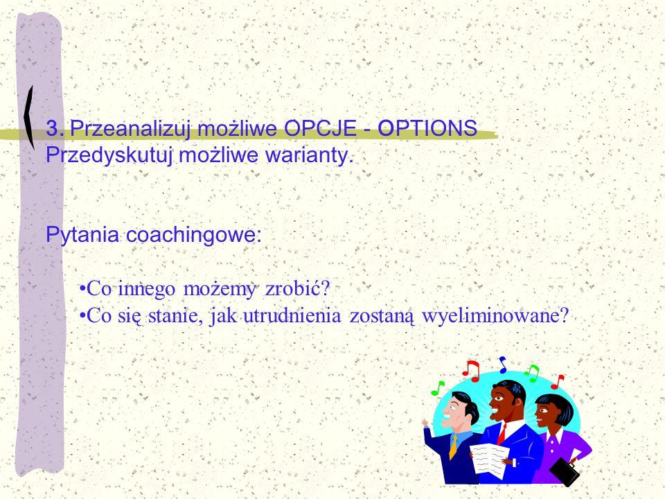 3. Przeanalizuj możliwe OPCJE - OPTIONS Przedyskutuj możliwe warianty.