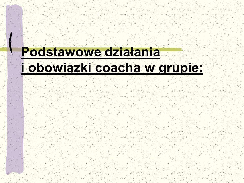 Podstawowe działania i obowiązki coacha w grupie: