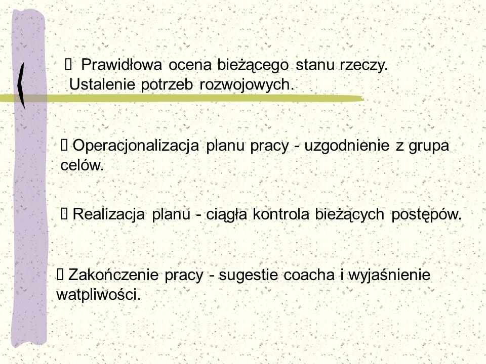 Ø Operacjonalizacja planu pracy - uzgodnienie z grupa celów.