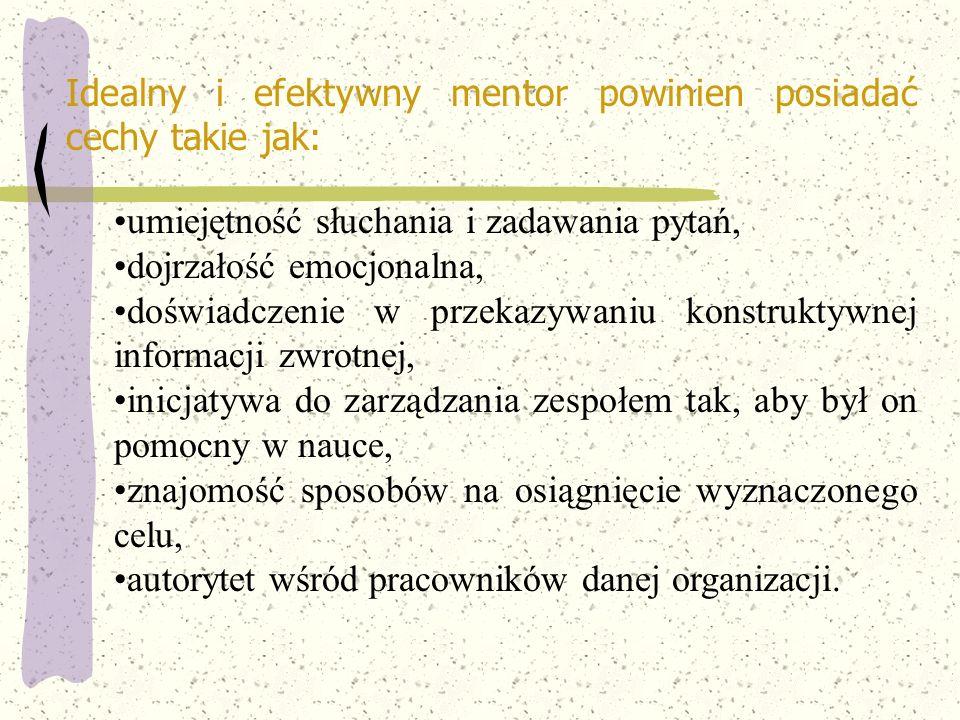 Idealny i efektywny mentor powinien posiadać cechy takie jak: