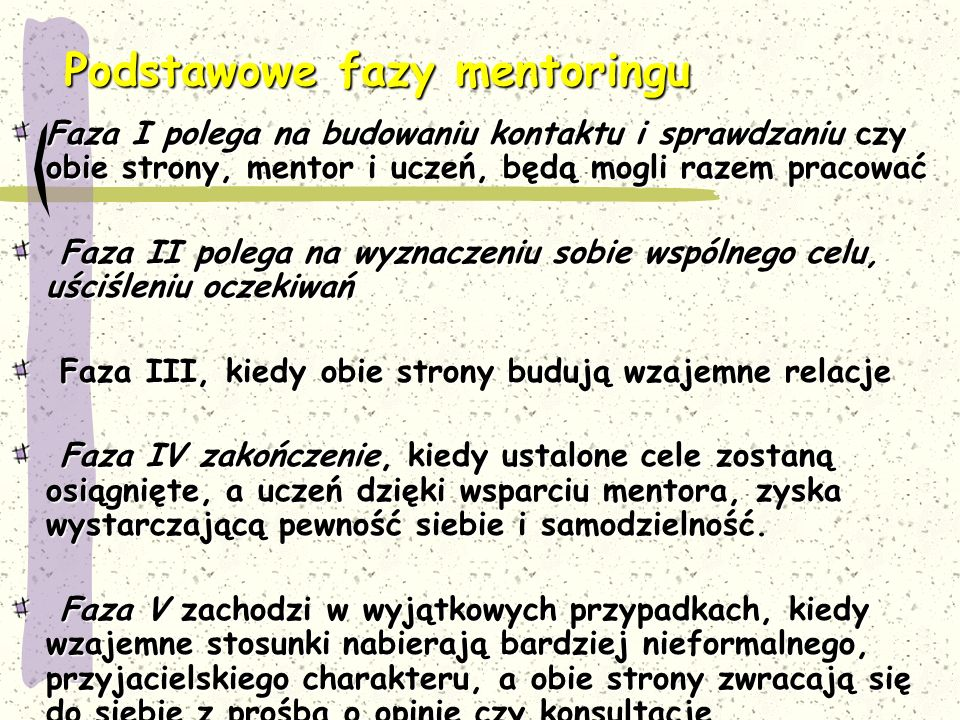 Podstawowe fazy mentoringu