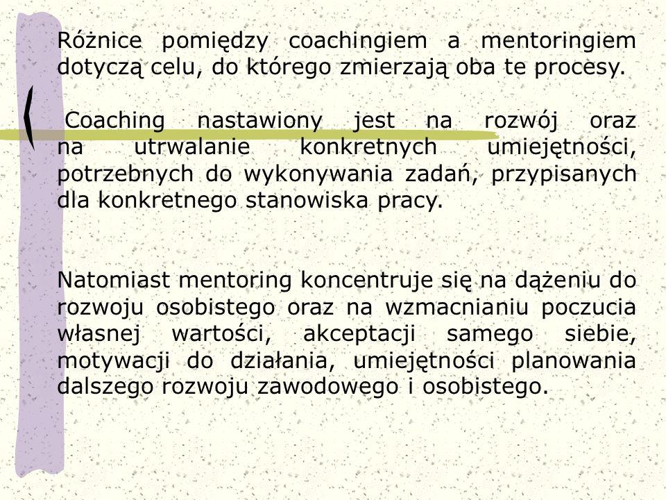 Różnice pomiędzy coachingiem a mentoringiem dotyczą celu, do którego zmierzają oba te procesy.