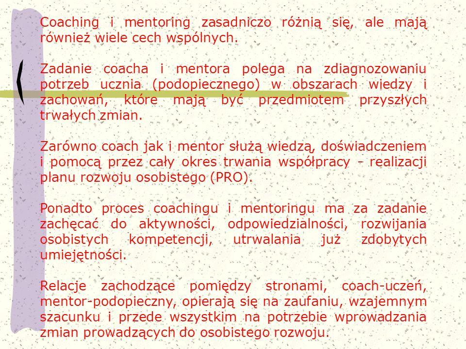 Coaching i mentoring zasadniczo różnią się, ale mają również wiele cech wspólnych.