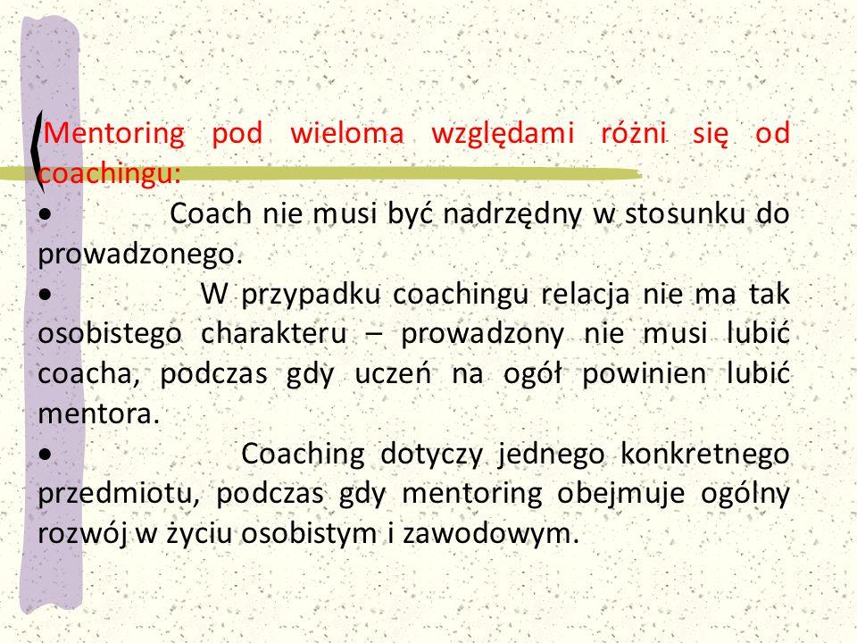 · Coach nie musi być nadrzędny w stosunku do prowadzonego.