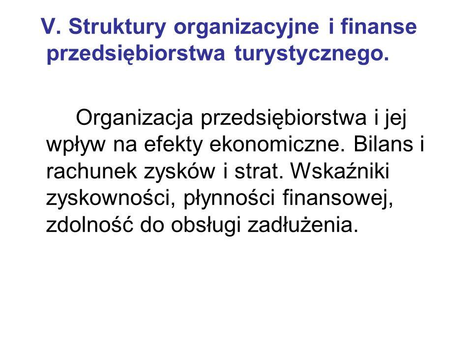 V. Struktury organizacyjne i finanse przedsiębiorstwa turystycznego.