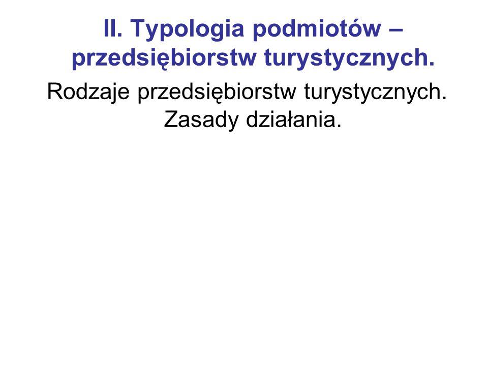II. Typologia podmiotów –przedsiębiorstw turystycznych.