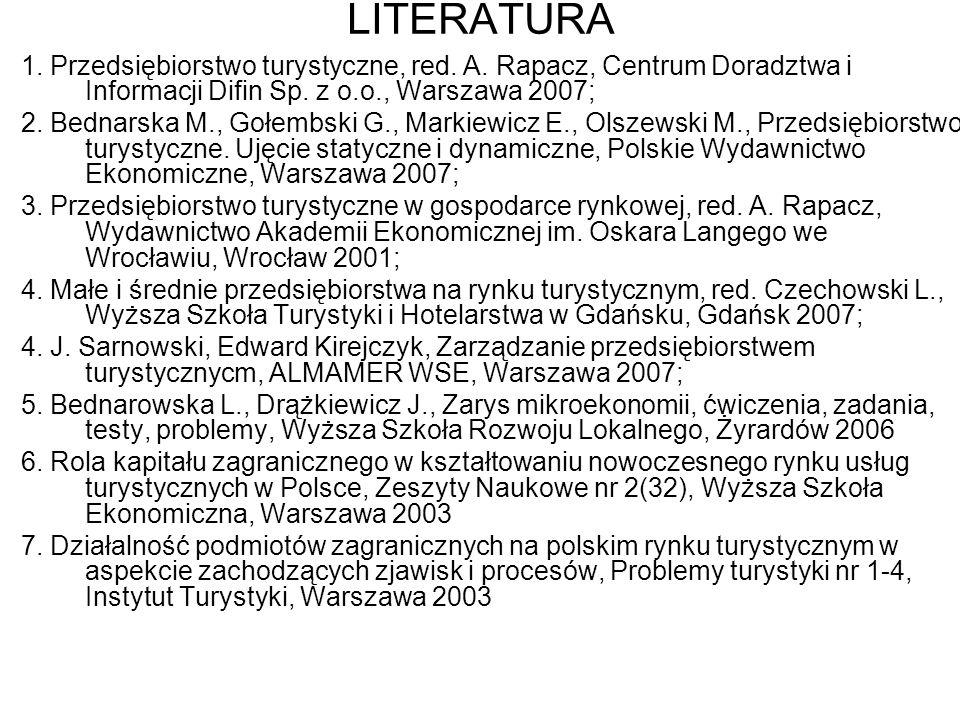 LITERATURA 1. Przedsiębiorstwo turystyczne, red. A. Rapacz, Centrum Doradztwa i Informacji Difin Sp. z o.o., Warszawa 2007;