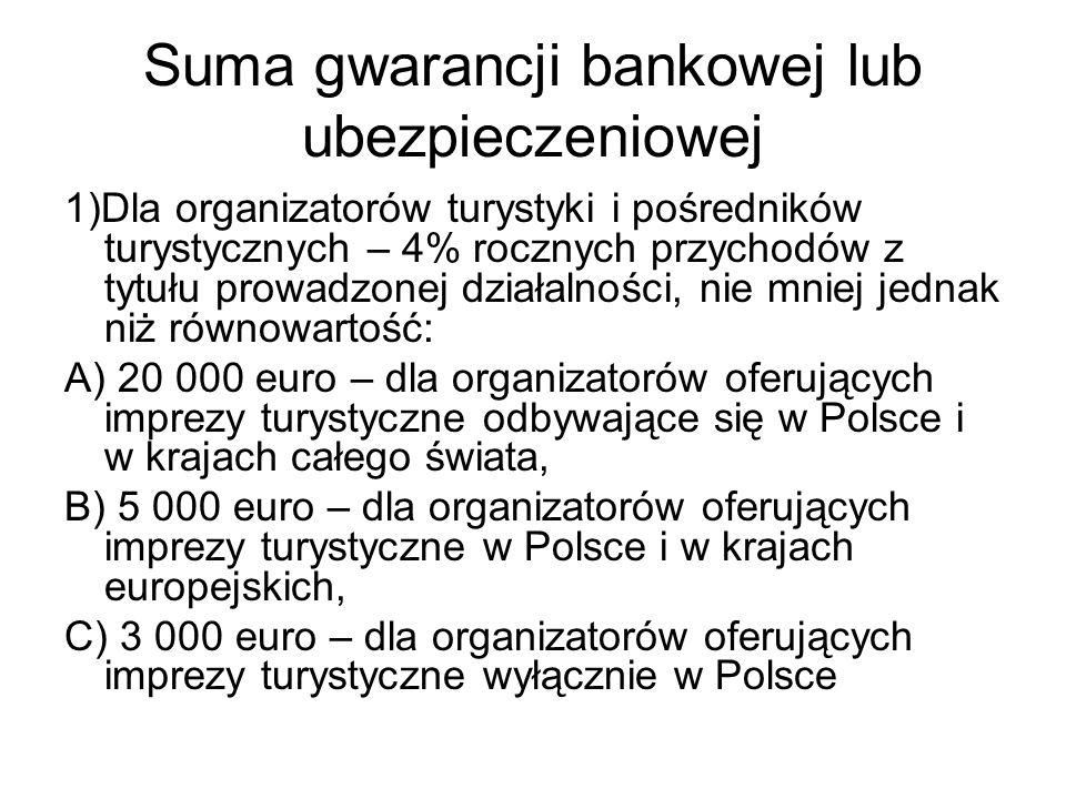 Suma gwarancji bankowej lub ubezpieczeniowej