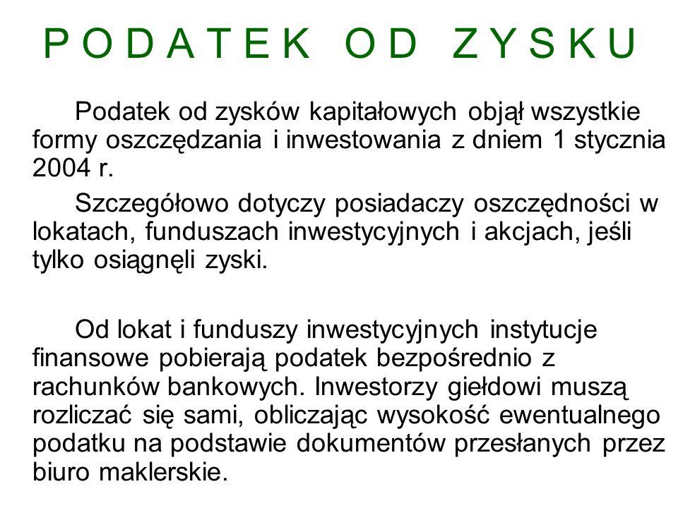 P O D A T E K O D Z Y S K U Podatek od zysków kapitałowych objął wszystkie formy oszczędzania i inwestowania z dniem 1 stycznia 2004 r.