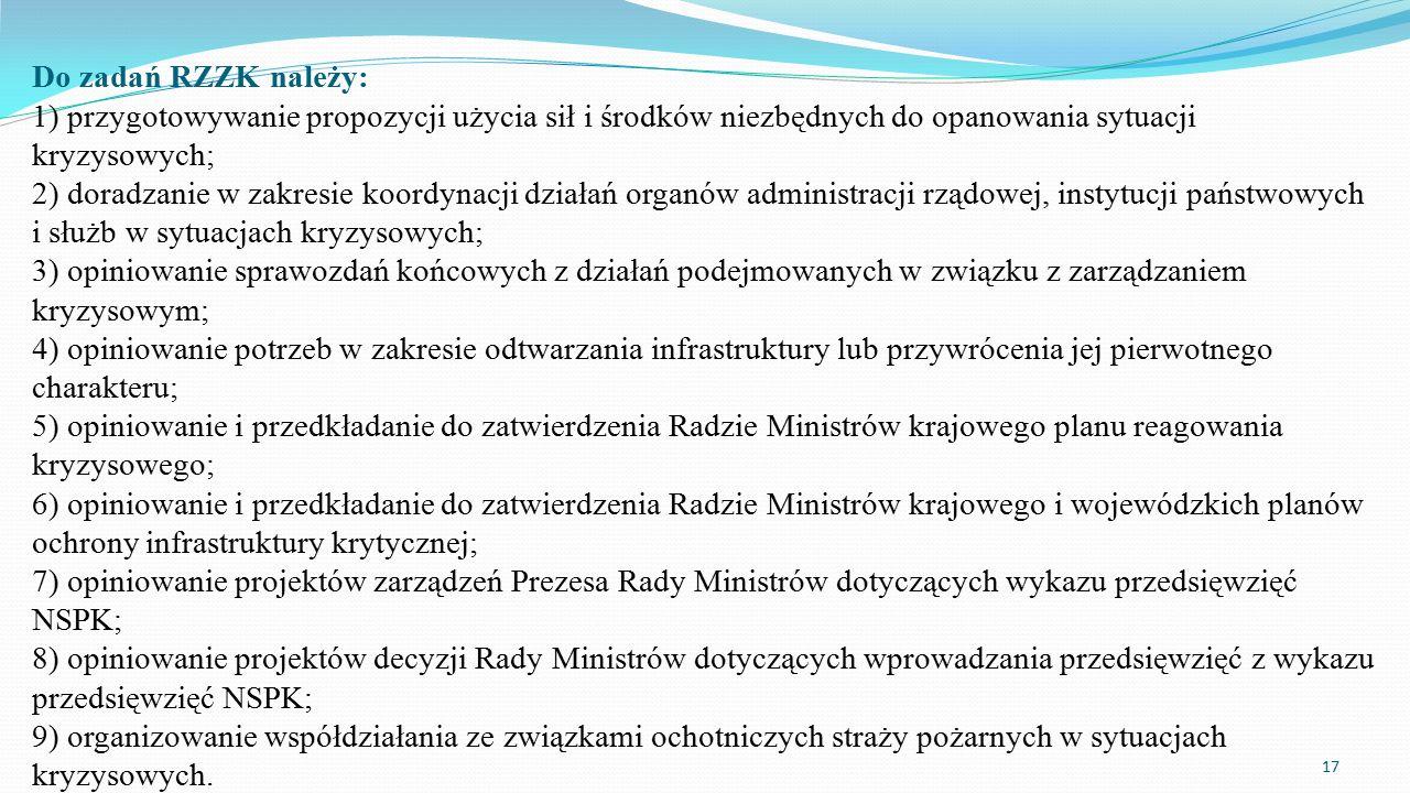 Do zadań RZZK należy: 1) przygotowywanie propozycji użycia sił i środków niezbędnych do opanowania sytuacji kryzysowych; 2) doradzanie w zakresie koordynacji działań organów administracji rządowej, instytucji państwowych i służb w sytuacjach kryzysowych; 3) opiniowanie sprawozdań końcowych z działań podejmowanych w związku z zarządzaniem kryzysowym; 4) opiniowanie potrzeb w zakresie odtwarzania infrastruktury lub przywrócenia jej pierwotnego charakteru; 5) opiniowanie i przedkładanie do zatwierdzenia Radzie Ministrów krajowego planu reagowania kryzysowego; 6) opiniowanie i przedkładanie do zatwierdzenia Radzie Ministrów krajowego i wojewódzkich planów ochrony infrastruktury krytycznej; 7) opiniowanie projektów zarządzeń Prezesa Rady Ministrów dotyczących wykazu przedsięwzięć NSPK; 8) opiniowanie projektów decyzji Rady Ministrów dotyczących wprowadzania przedsięwzięć z wykazu przedsięwzięć NSPK; 9) organizowanie współdziałania ze związkami ochotniczych straży pożarnych w sytuacjach kryzysowych.