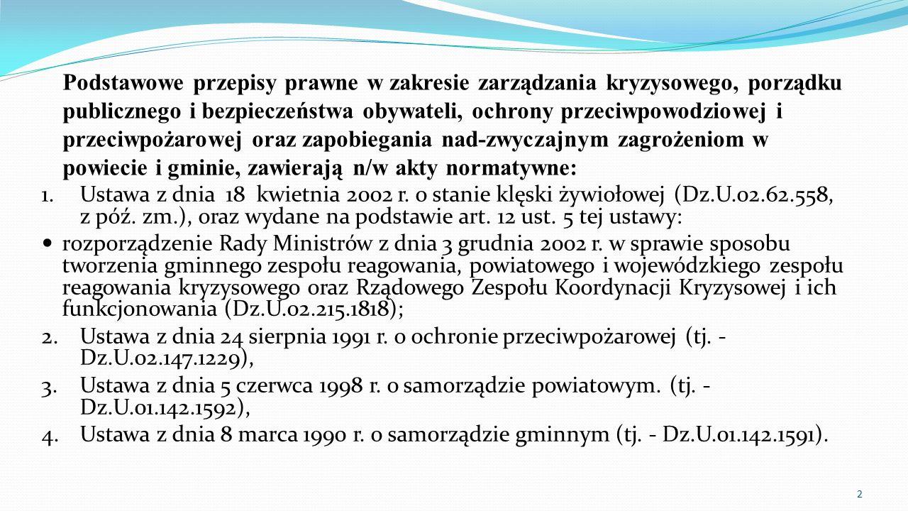 Podstawowe przepisy prawne w zakresie zarządzania kryzysowego, porządku publicznego i bezpieczeństwa obywateli, ochrony przeciwpowodziowej i przeciwpożarowej oraz zapobiegania nad-zwyczajnym zagrożeniom w powiecie i gminie, zawierają n/w akty normatywne: