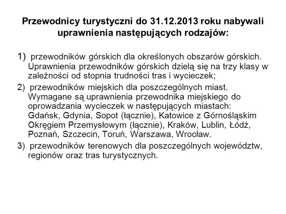 Przewodnicy turystyczni do 31. 12