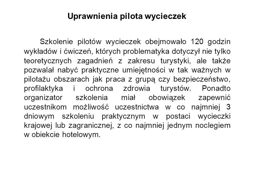 Uprawnienia pilota wycieczek