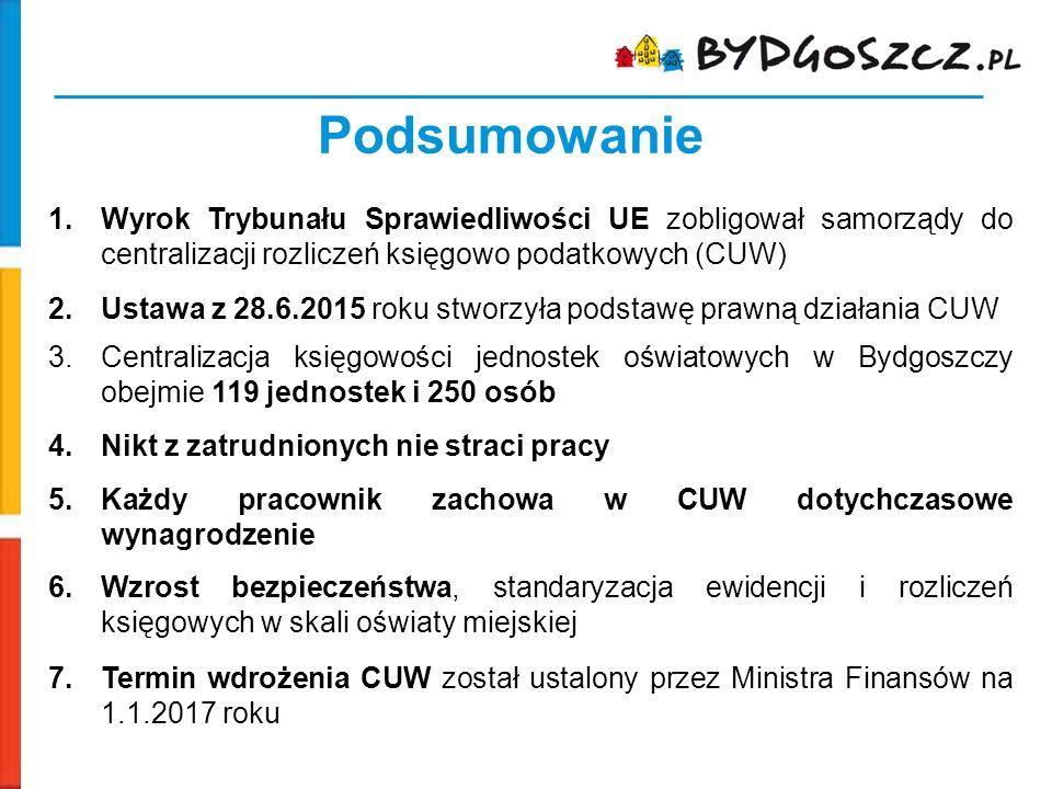 Podsumowanie Wyrok Trybunału Sprawiedliwości UE zobligował samorządy do centralizacji rozliczeń księgowo podatkowych (CUW)
