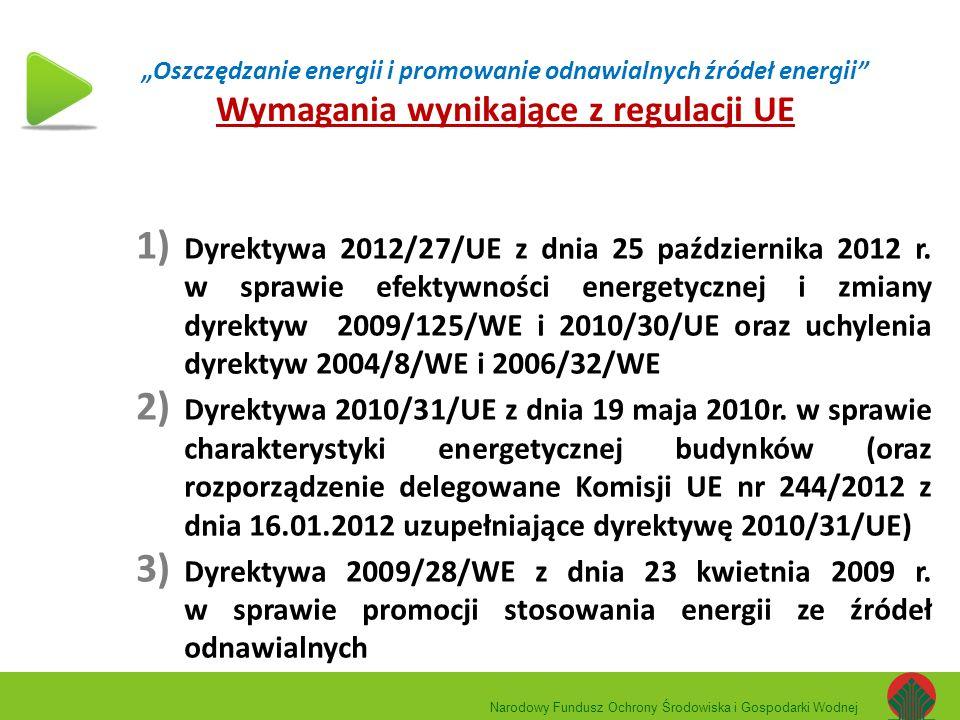 """""""Oszczędzanie energii i promowanie odnawialnych źródeł energii Wymagania wynikające z regulacji UE"""