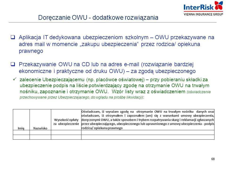Doręczanie OWU - dodatkowe rozwiązania