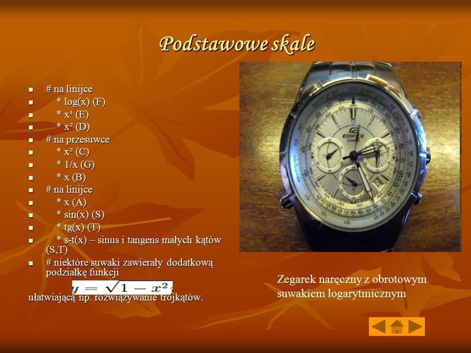 Podstawowe skale Zegarek naręczny z obrotowym suwakiem logarytmicznym