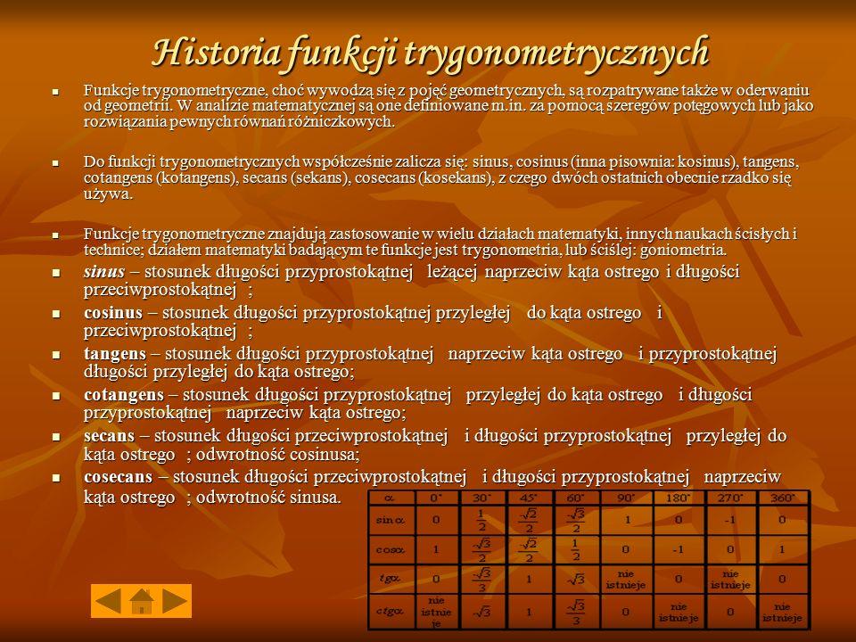Historia funkcji trygonometrycznych