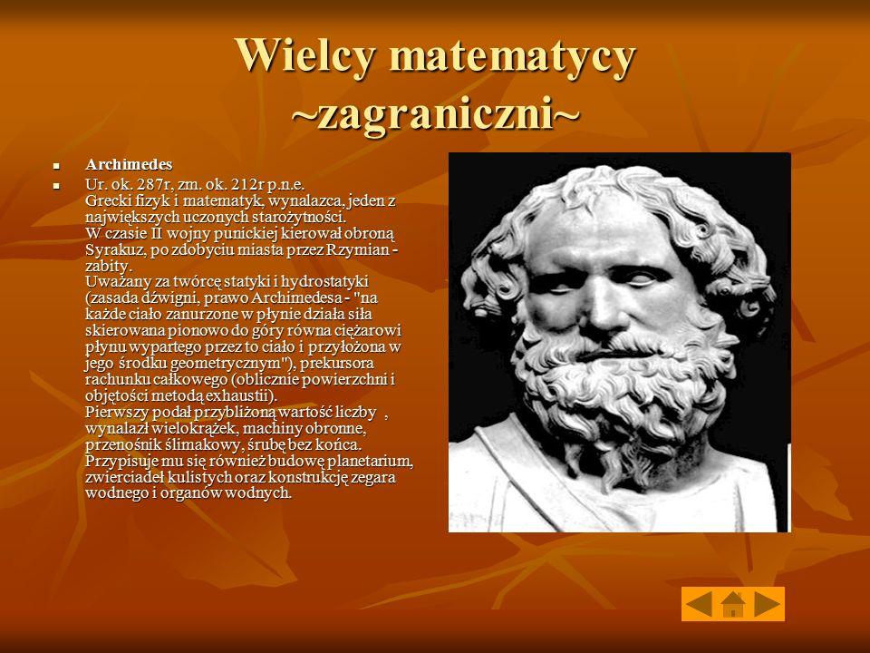 Wielcy matematycy ~zagraniczni~