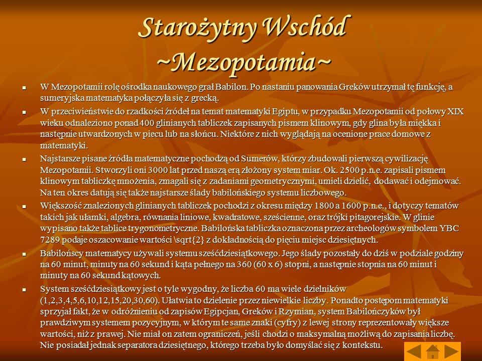 Starożytny Wschód ~Mezopotamia~