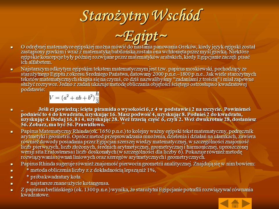 Starożytny Wschód ~Egipt~
