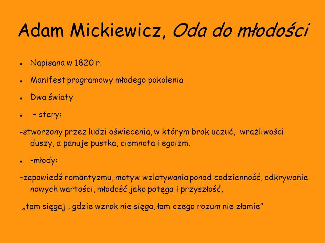 Adam Mickiewicz, Oda do młodości