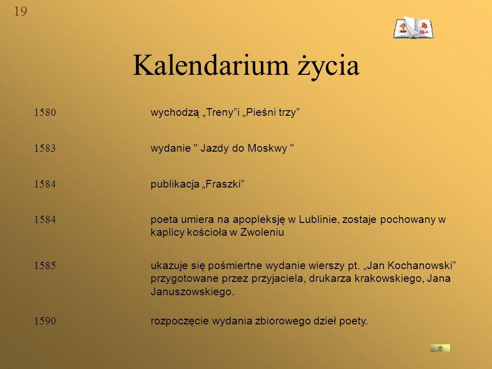 """Kalendarium życia 19 1580 wychodzą """"Treny i """"Pieśni trzy 1583"""