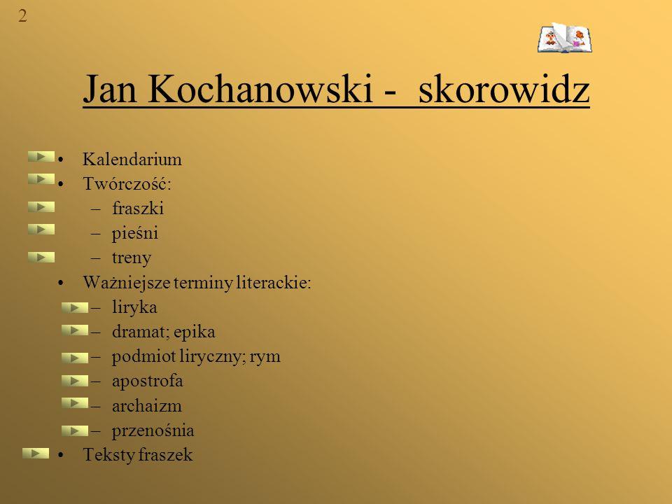 Jan Kochanowski - skorowidz