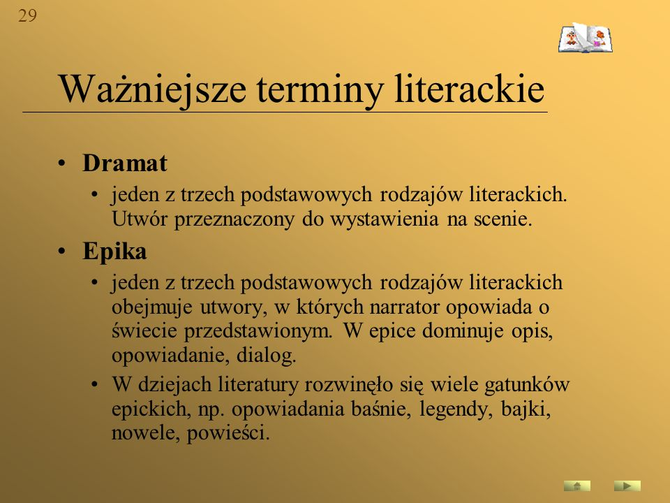 Ważniejsze terminy literackie