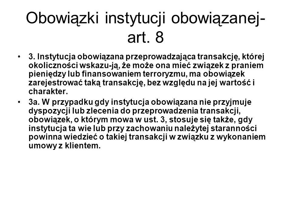 Obowiązki instytucji obowiązanej-art. 8