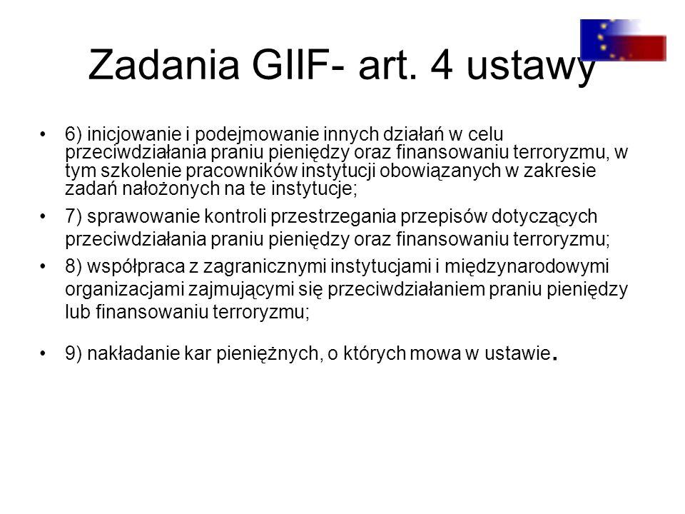 Zadania GIIF- art. 4 ustawy