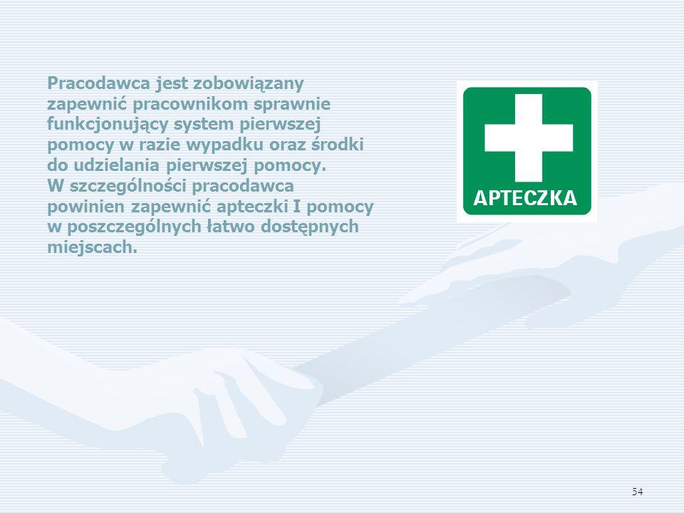 Pracodawca jest zobowiązany zapewnić pracownikom sprawnie funkcjonujący system pierwszej pomocy w razie wypadku oraz środki do udzielania pierwszej pomocy.