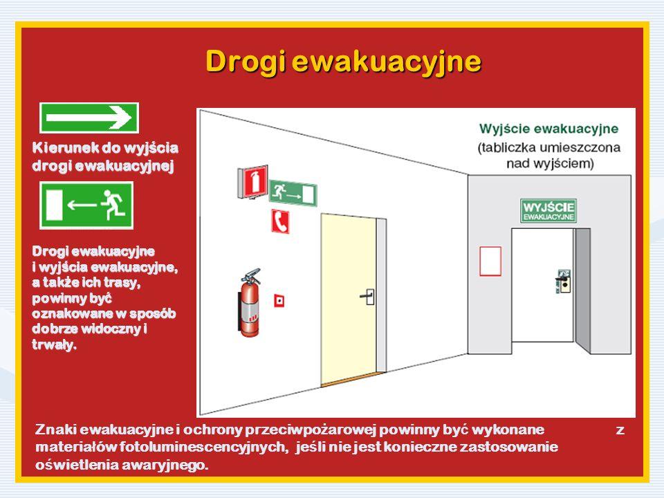 Drogi ewakuacyjne Kierunek do wyjścia drogi ewakuacyjnej